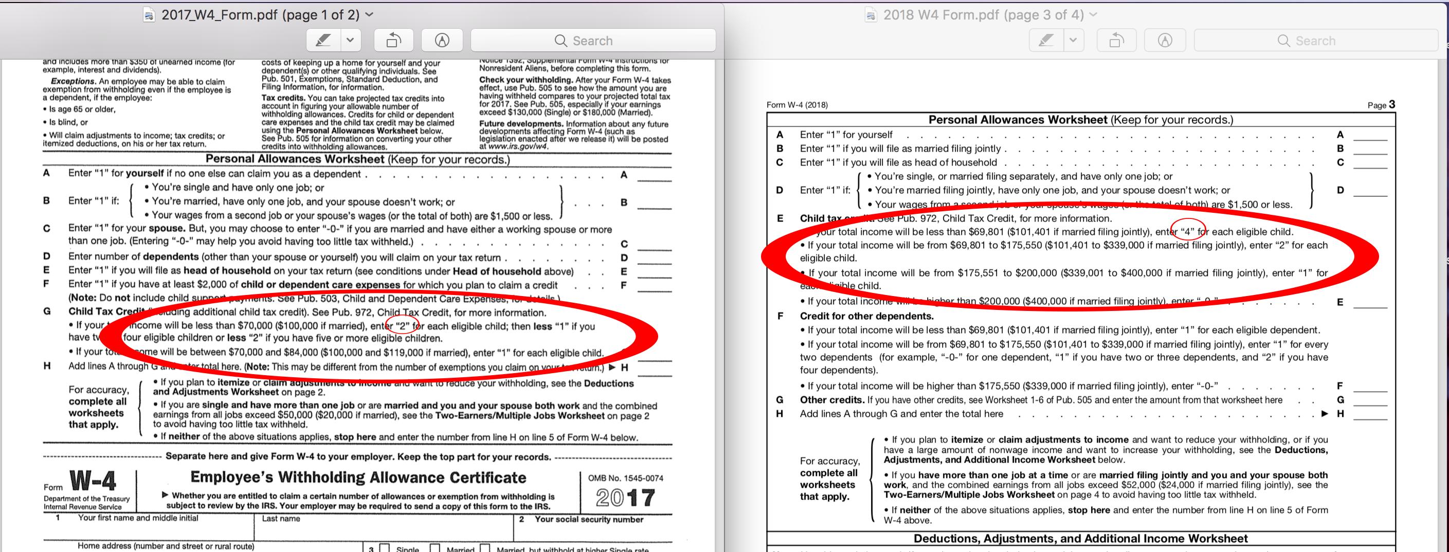 2018 W4 Form Child Tax Credit Deduction Changes Nate Covington